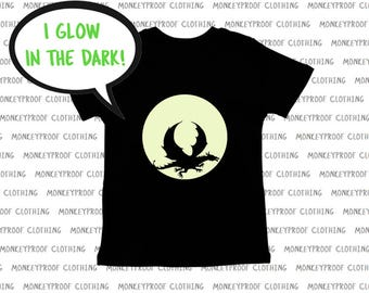 Glow In The Dark, Dragon In Flight, Full Moon, Flying, Halloween Tee Shirt, Shirt for Boys, Shirt for Girls