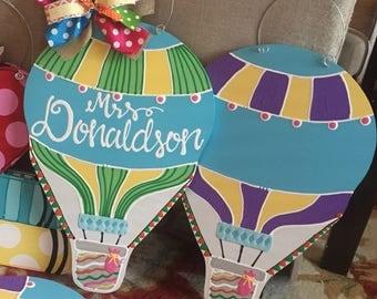 Hot air balloon teacher door hanger hand lettered classroom decor