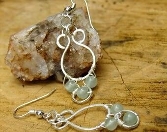 Green Earrings, Aventurine Earrings, Silver Earrings, Boho Earrings, Gemstone Earrings, Modern Earrings, Gift For Her, One Of A kind, OOAK