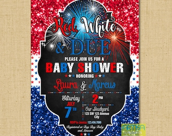 4th of July Baby Shower Invitation, Red white and Due invitation, Independence Day baby shower invitation, fireworks baby shower invite