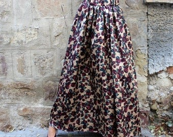 SALE ON 20 % OFF Floral Maxi Skirt / Long Skirt / A line skirt/ Full Skirt / High Waisted Skirt / Maxi Skirt / Plus Size Skirt / Skirt with