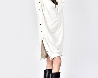 New Maxi Off White Dress / Buttoned Maxi Cotton Dress /Side Pockets Extravagant Party Sweatshirt Buttoned Dress A08703