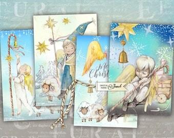 Little Christmas Angel - digital collage sheet - set of 4 cards - Printable Download