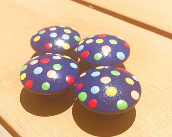 Huge Summer Sale CLEARANCE Navy Blue Multi Color Polka Dot Drawer Knobs for Dresser Drawers, Closet Doors or Use as Nail Covers great for bo