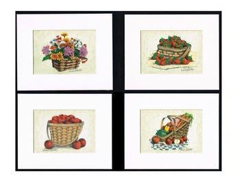 Longaberger Baskets Art Prints Set of 4 Artist Signed 5 x 7 Giclee Art Print Apples Strawberries,Flowers,Vegetables