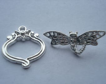 21mm Copper Toggle Clasp, Silver Plated Flower Carved Dragonfly Clasp, Dragonfly Clasp Set, C260