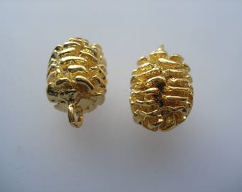 19mm Zinc Based Alloy 3D Charms, Gold Plated Pine Cone Charms, Pack of 5 Charms, 40p Charms!! C571