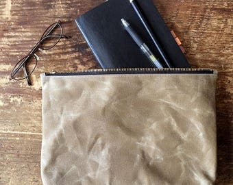 Large Waxed Canvas Pouch - Sage