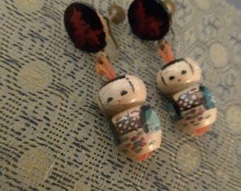 Vintage Japanese Kokeshi doll earrings