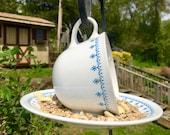Hanging Teacup Birdfeeder-White and Denim Blue-Recycled Garden-Birdfeeder