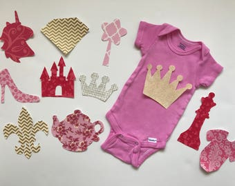 Royal Princess Baby Shower Iron on Appliques for Craft Station - Baby Shower Activity Set - Baby Shower Decorating