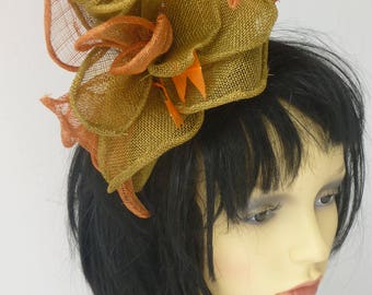 Orange and Green fascinator  head piece - Melbourne Cup  Derby Day Weddings