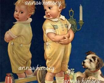 "Sweet Little Boy And Dog, ""Do I Look Okay?"" Little Boy's Room Art #638"