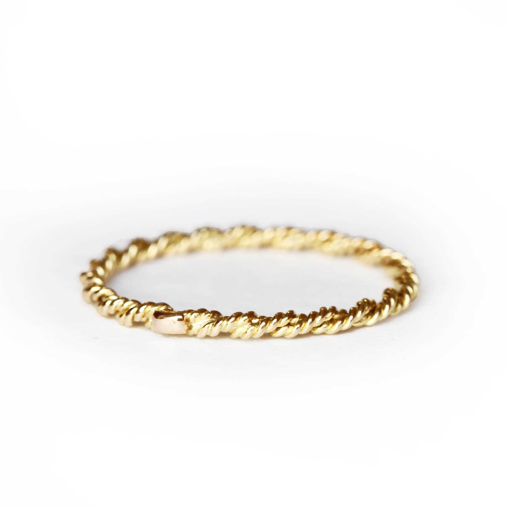 Stackable band - 18 ct gold band - twisted ring - thin gold ring ...