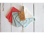 Wipes cleansing squares washable two-sided reusable, organic cotton: Blue plain coral Kingdom, flowers and unbleached organic Terry jersey.
