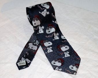 Vintage Snoopy Tie by Cervantes - 1960s - Polyester Silk - Made in U.S.A