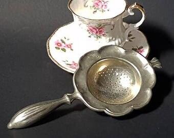 SALE Art Deco Tea Strainer Alpaca Silver Metal Tea Strainer Vintage Tea Infuser , Italian Tea Bag Strainer ,Afterroon Tea Accessory