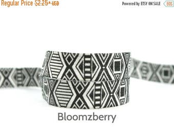 """Summer SALE 10% OFF 5/8"""" PRINTED Fold Over Elastic - Black/White Aztec -Aztec Printed Fold Over Elastic - Diy Hair Accessories Supplies"""