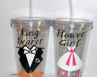 Will you be my Flower Girl? Will you be my Ring Bearer? Flower Girl Cup, Personalized Tumbler, Ring Bearer Personalized Tumbler
