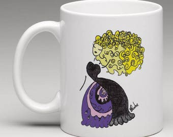 Illustrated MUG design dreamy romantic Princess evening GOWN