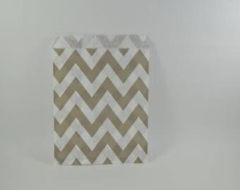 8 Gray zig zag chevron pattern paper bags