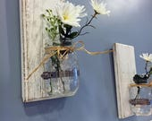 Set of 2 Wall Sconces Mason Jar Wall Decor Rustic Home Decor Rustic Decor Mason Jar Decor Home Decor, wall Decor Mason Jar Wall Sconce