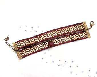 Bracelet Ribbon weaving jacquart medieval pattern Burgundy Lampwork Glass Beads