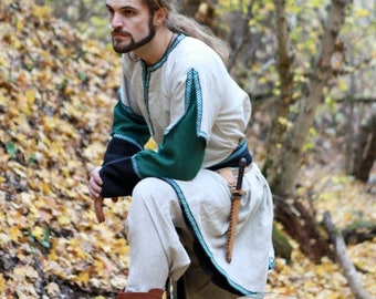 DISCOUNTED PRICE! Medieval Long Mens Overcoat with the belt (personal listing for Lena)