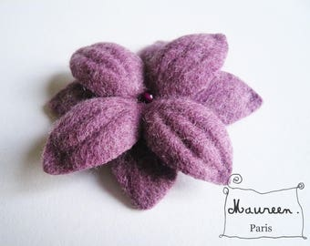 """Nimue"" Purple felt flower hair clip"