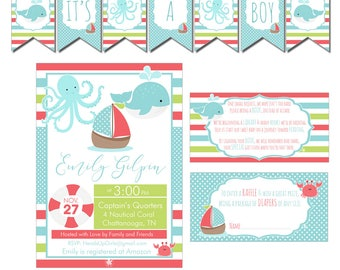Digital Blue and Coral Nautical Baby Shower Decorations Package Banner, Games, Diaper Raffle, Cupcake Toppers, Water Labels and More CPP004