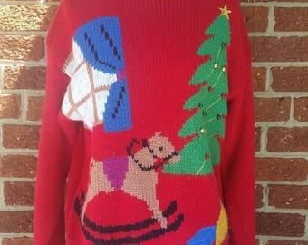 Vintage Holiday Christmas Sweater // Rocking Horse X-mas Tree // Ugly Christmas Sweater