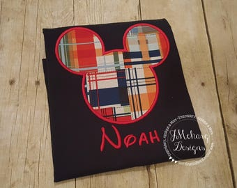 Plaid Boy Mouse Custom embroidered Disney Inspired Vacation Shirts for the Family! 846 red