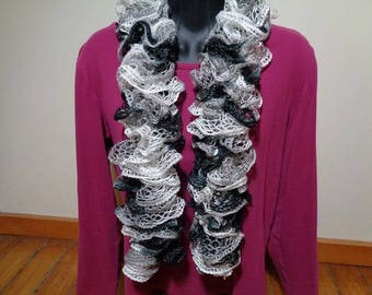 Black/Gray/White Ruffled Scarf - FREE SHIPPING
