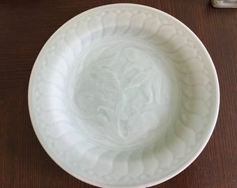 Vintage Chinese Celadon Set of Four Fish Design Dessert Bread Plates