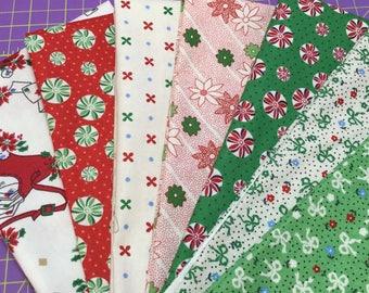 Fat Quarter Bundle - Christmas Fabric - Tiny Bow Fabric - Tiny Floral Fabric - Polka Dots -Kaye England - Greetings Fabric - Wilmington