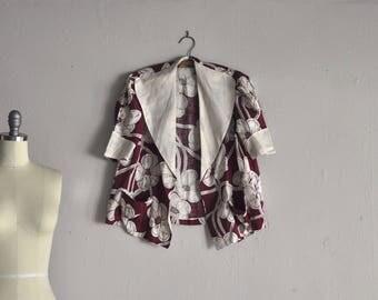 1930s jacket | poppy tea | vintage floral print linen blazer