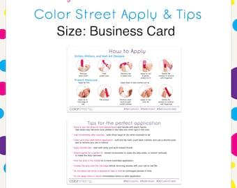 Color Street Business Card Apply & Tip Cards --Instant Digital Download