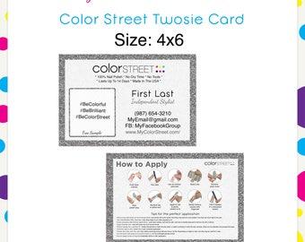 Color Street Twosie Silver Glitter 4x6 --Custom Digital Download