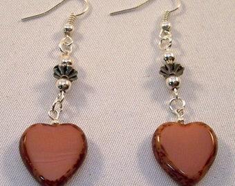 SALE Pink Marbled Czech Glass Heart Earrings - Vintage Silver Beads