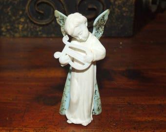 Vintage Mid Century Blue Angel Holding Harp With Gold Glitter Miniature  Tiny Hard Plastic Christmas Nativity