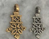 """Ethiopian Cross Pendant, African Tribal, 1.75"""" Gold or Silver, Bail, Lead Free Pewter, Made In USA, Coptic Cross"""