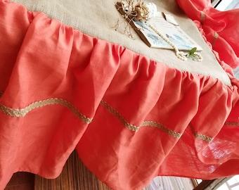 Ruffled Burlap Bedskirt LINEN Bed Skirt *CORAL Orange Rustic FULL size Farmhouse bed skirt
