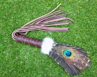 Smudging Feather Fan.Barred Turkey with Peacock Eye Feathers. Smudge Feather / Wand