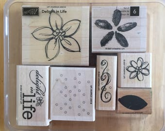 Stampin' Up Flower Leaves Snow Delight in Life Stamps 7 stamps in a box Craft Supply