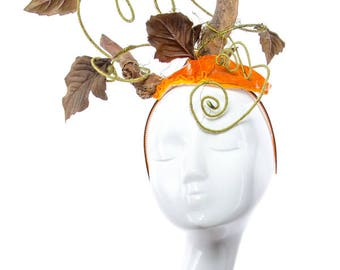 PUMPKIN Head - Couture Halloween Headpiece