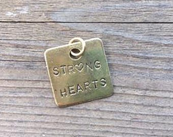 NEW Strong Hearts Brass Key Chain