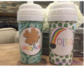 Personalized kids St. Patrick's day sippy cup - rainbow sippy cup - 4 leaf clover sippy cup - valentines day cup