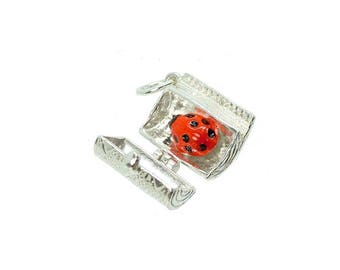 Sterling Silver Opening Bug In A Rug Charm For Bracelets