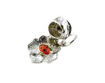 Sterling Silver Opening Ladybird In Rose Charm For Bracelets