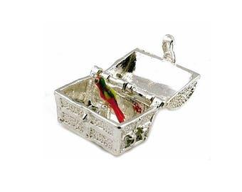 Sterling Silver Opening Long John Silver's Treasure Chest Charm For Bracelets